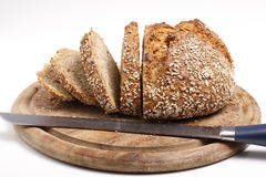 Sliced Wholemeal Bread (XXL). Loaf of wholemeal bread with first half already cut into slices Royalty Free Stock Image