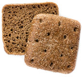 Sliced wholemeal rye bread isolated on a white background. Two sliced wholemeal rye bread isolated on a white background, macro Stock Images