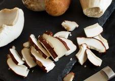 Sliced wild porcino mushrooms Royalty Free Stock Photos