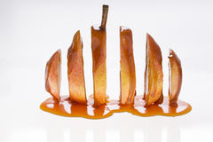 Sliced Wiliams pear with caramel Stock Photos