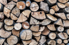 Sliced wood stack. Wood for fireplaces, athens, greece Stock Images