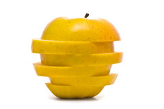 Sliced yellow apple Stock Photo