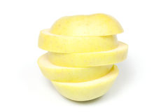 Sliced yellow apple Stock Images