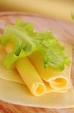 Sliced yellow cheese Stock Photo