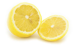 Sliced yellow lemon Stock Photos