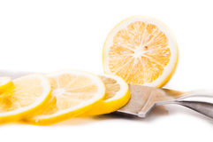 Sliced yellow lemon  on white background Stock Photography