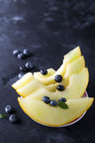 Sliced yellow melon Stock Photo
