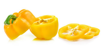 Sliced yellow paprika pepper isolated on white background Royalty Free Stock Photos