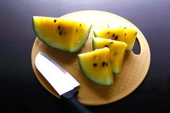 Sliced yellow watermelon fruit Royalty Free Stock Photo