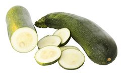Sliced zucchinis or courgettes Stock Photos
