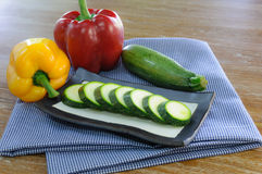 Sliced zuccini bell pepper Stock Photos