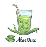 Slices of Aloe Vera in a glass. Healthy cocktail. Stock Photography
