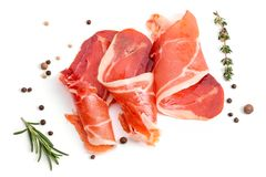 Slices of appetizing jamon stock photography
