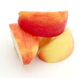 Slices of the apple. Slices of the big ripe red-yellow apple Stock Photos