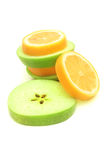 Slices of apple and lemon. stock images