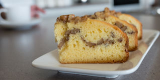 Slices of Apple and Walnut Cake. Royalty Free Stock Images