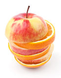 Slices of apples and oranges Royalty Free Stock Photo