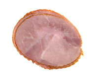 Slices of applewood smoked ham on a white background Stock Photos