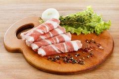 Slices of bacon closeup Stock Photography