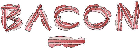 Slices of bacon font Royalty Free Stock Photo