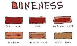 Slices of Beef Steak, Meat Doneness Chart Differently Cooked Pieces of Beef, BBQ Party, Steak House Restaurant Menu. Hand Drawn Ve. Ctor Illustration. Savoyar Stock Image