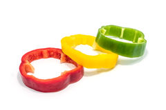 Slices of bell pepper . Royalty Free Stock Images