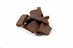 Slices of bitter chocolate Royalty Free Stock Images