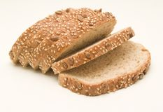 Slices of black bread, cereals Royalty Free Stock Photo