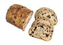 Slices of blueberry streusel bread on a white background. Stock Photos
