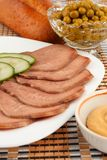 Slices of boiled beef tongue Stock Photos