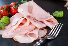 Slices of boiled Ham Stock Photo
