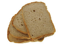 Slices of bread. Isolated on white background stock photography