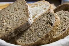 Slices of Bread. Delicious slices of bread in a bread basket Royalty Free Stock Photography