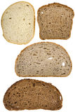 Slices of bread. Different slices of bread isolated on white Stock Photo