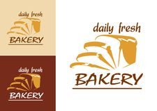 Slices of bread as bakery emblem. Or logo, three variants with beige, brown and white colored background stock illustration