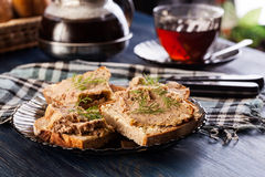 Slices of bread with baked pate Stock Images