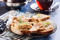 Slices of bread with baked pate Royalty Free Stock Photography