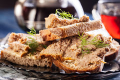 Slices of bread with baked pate Stock Photo