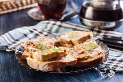 Slices of bread with baked pate Stock Image