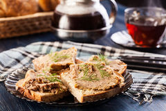 Slices of bread with baked pate Stock Photos