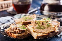 Slices of bread with baked pate Royalty Free Stock Image