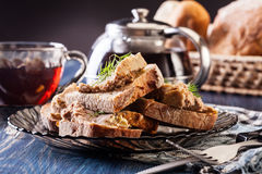 Slices of bread with baked pate Royalty Free Stock Photos