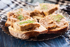 Slices of bread with baked pate Stock Photography