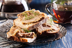 Slices of bread with baked pate Royalty Free Stock Images