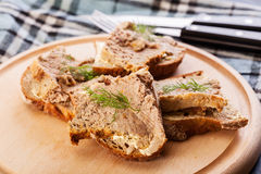 Slices of bread with baked pate Royalty Free Stock Photo