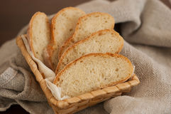 Slices of bread in a basket Stock Images