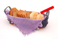 Slices  of bread in basket Royalty Free Stock Photography