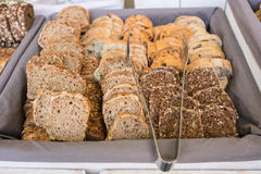 Slices of bread on a buffet Royalty Free Stock Image