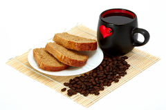 Slices of bread and cup. With a heart Royalty Free Stock Image