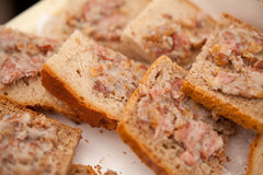 Slices of bread with home-made lard Stock Photography